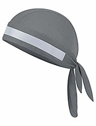 cheap -quickly dry breathable cotton cycling running hat sun uv protection pirate hat sports headwear bandana cap under helmet hat skull cap motorcycle beanie (gray with reflective stripe)