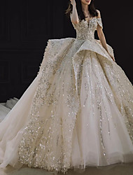cheap -Princess Ball Gown Wedding Dresses Off Shoulder Watteau Train Lace Sequined Short Sleeve Formal Luxurious Sparkle & Shine with Pleats Draping 2021