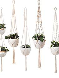 cheap -Hand Woven Macrame Tapestry Plant Hanger Holder Bohemian Boho Wall Hanging Basket Ornament Art Decor Home Bedroom Living Room Decoration Nordic Handmade Tassel Cotton Flower Pot