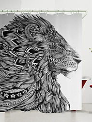 cheap -Black And White Lion King Digital Printing Shower Curtain Shower Curtains  Hooks Modern Polyester New Design 72 Inch