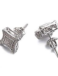 cheap -hip hop men's earrings rhombus solid gold white platinum plated cz cubic zirconia stud earrings for men