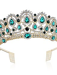 cheap -crystal queen crown birthday tiara prom pageant quinceanera crown tiara rhinestone wedding princess tiara headband with comb pin (emerald-green)