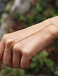 cheap -simple finger ring bracelet chain beads bracelets chain hand bracelets jewelry for women and girls (gold)
