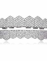 cheap -8 teeth grillz silver diamond cz grillz for men women + extra 2 molding bars