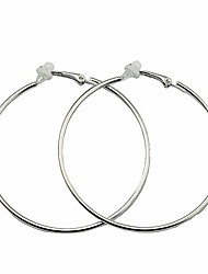 cheap -clip on big large fake hoop earrings for women teen girls non pierced no piercing ear fashion huggie hoops jewelry gifts (70mm silver)