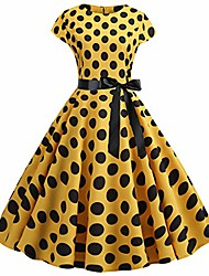 cheap -women's vintage hepburn cocktail dress 1950s rockabilly polka dot cap sleeves prom gowns a-line swing bridesmaid party skater dresses yellow