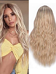 cheap -blonde wigs for women long wavy curly synthetic hair ombre blond wig with dark roots heat resistant 24 inches