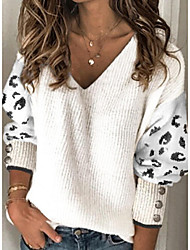 cheap -Women's Stylish Color Block Leopard Pullover Long Sleeve Sweater Cardigans V Neck Fall Winter White
