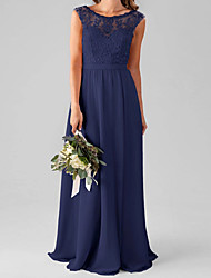 cheap -A-Line Jewel Neck Floor Length Chiffon / Lace Bridesmaid Dress with Pleats / Appliques