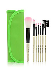 cheap -7pcs makeup brushes make up brushes professional make up makeup brush set with leather case, green