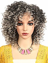 cheap -synthetic short afro kinky curly hair wigs for women heat resistance fiber shoulder length african american wig for cosplay party for womengray
