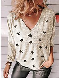 cheap -Women's Plus Size Tops T shirt Print Galaxy Large Size V Neck Long Sleeve Big Size