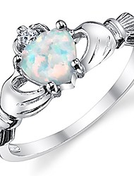 cheap -sterling silver 925 irish claddagh friendship & love ring with simulated opal heart 3