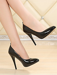 cheap -Women's Heels Stiletto Heel Round Toe Classic Daily PU Solid Colored Black