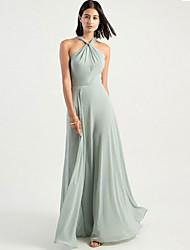 cheap -A-Line Halter Neck Floor Length Chiffon Bridesmaid Dress with Criss Cross