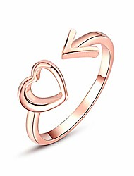 cheap -fashion creative hollow heart arrow design open ring gorgeous charming elegant adjustable band ring jewelry accessories gift for women girls