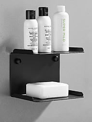 cheap -Multifunction Soap Dishes and Bathroom Shelf Contemporary Stainless Steel Wall Mounted Black and Silver 1 pc
