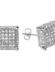 cheap -0.55 carat (ctw) round diamond dice shape mens iced stud earrings 1/2 ct, sterling silver