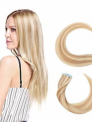 cheap -tape in hair extensions human hair thin type 1.5g/pcs - 20pcs 100% real natural remy hair skin weft extension (#18/613 ash blonde mix bleach blonde, 20 inches)