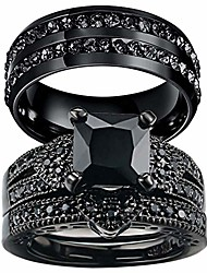 cheap -couple rings black rings princess cut cz womens wedding ring sets titanium steel rhinestone mens wedding bands