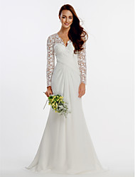 cheap -A-Line Wedding Dresses Jewel Neck Chapel Train Satin Long Sleeve Simple Plus Size Elegant with 2021