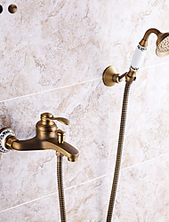 cheap -Shower Faucet, Antique Brass/Electroplated Pull Out Bath Shower Mixer Taps, Brass Rainfall Shower Head System Mount Outside with Rain Shower/Handshower
