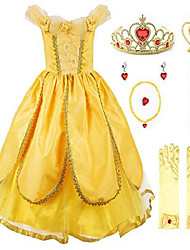 cheap -dresses costume party chic dress up for princess girls, yellow 1 with accessories, 8 years (manufacturer size: 150)