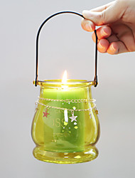 cheap -Lantern Shaped Glass Candle Holder with Handle