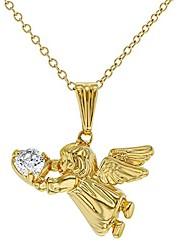 "cheap -18k gold plated guardian angel pendant necklace kids girls children cz 16"""
