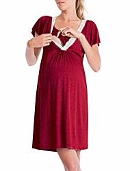 cheap -women pajamas sleepwear nightwear pregnant - lady sleep dress maternity breastfeeding nightdress v-nick long nightie short sleeved cotton,soft