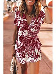 cheap -Women's A Line Dress Short Mini Dress Black Blue Wine Green Short Sleeve Print Print Summer V Neck Elegant Casual 2021 S M L XL XXL