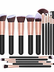 cheap -makeup brushes maxzo makeup brush set professional 16-piece make up brushes premium synthetic foundation brush blending face powder blush concealers eye cosmetics make up brush kits (rose gold)