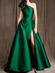 cheap -A-Line Minimalist Sexy Engagement Formal Evening Dress One Shoulder Sleeveless Floor Length Satin with Bow(s) Ruched Split 2020