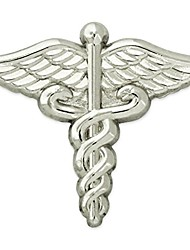 cheap -silver plated medical caduceus lapel pin