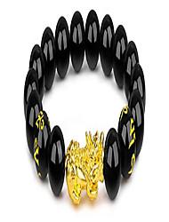 cheap -12mm beaded feng shui black obsidian wealth bracelet pixiu bracelets for men hand carves mantra bands for women elastic bracelets