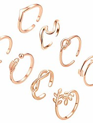 cheap -8pcs open rings set for women arrow knot wave rings stackable thumb adjustable rings set