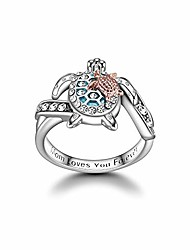cheap -mum loves you forever turtle ring- ideal gift for women-personalized message for moms-mother's day jewelry (size:9)
