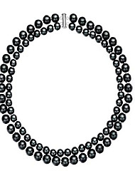 """cheap -double-row 8-10mm black seashell pearl necklace 18"""""""