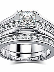 cheap -bridal white gold plated womens wedding ring  princess cut cz engagement ring wedding band