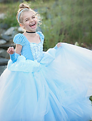 cheap -Cinderella Cosplay Costume Costume Girls' Movie Cosplay Euramerican Blue Dress Christmas Halloween Carnival Polyester / Cotton Polyester