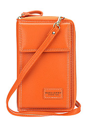 cheap -Women's Bags PU Leather Polyester Wallet Mobile Phone Bag Crossbody Bag Solid Color 2021 Daily Office & Career Black Purple Blushing Pink Orange