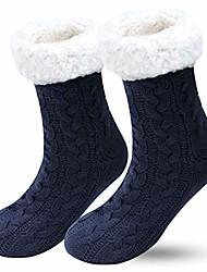 cheap -slipper socks - winter ladies non slip soft cozy slipper socks fleece lined fluffy and furry knitted warm home socks for unisex best gift (navy)