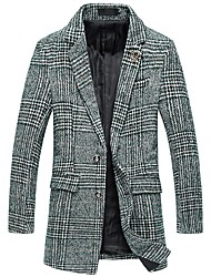 cheap -men's casual western two-buttons plaid overcoat midi en tweed trench coat