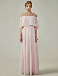 cheap -A-Line Off Shoulder Floor Length Chiffon Bridesmaid Dress with Ruffles