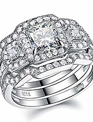 cheap -newshe engagement wedding ring set for women 925 sterling silver 3pcs princess white aaa cz size 12