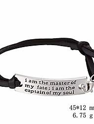cheap -davitu wrap bracelets - dawapara rectangle charms i am the master of my fate i am the captain of my soul adjustable leather bangle mens bracelets - (metal color: black)