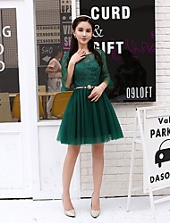 cheap -A-Line Elegant Cut Out Homecoming Party Wear Dress Jewel Neck 3/4 Length Sleeve Short / Mini Tulle with Lace Insert 2020