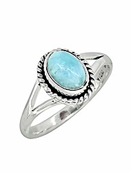 cheap -natural larimar solid 925 sterling silver gemstone ring