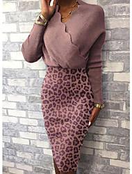 cheap -Women's Sheath Dress Knee Length Dress - Long Sleeve Solid Color Patchwork Fall V Neck Casual Slim 2020 Black Blushing Pink Gray S M L XL XXL 3XL