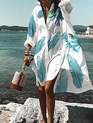 cheap -Women's Plus Size Dress T Shirt Dress Tee Dress Knee Length Dress Long Sleeve Print Print Casual Fall Summer